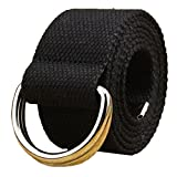 AYG Fashion Fabric Unisex Double Loop Buckle Casual Long Weave Canvas Belt with 38 Colours