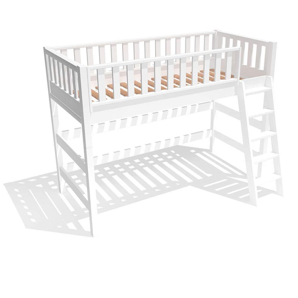 Dannenfelser Möbel® Hochbett in Weißszlig;, umbaubar zu Kinderbett, Extrem robust Kinderhochbett, massiv Holz Bett, multifunktional, umbaubar, Höhe 160cm, Lattenrost inklusive 90x200cm  15266