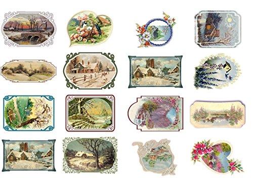 decoupage-paper-pack-10sheets-a4-8x12-spring-and-winter-landscapes-flonz-vintage-ephemera