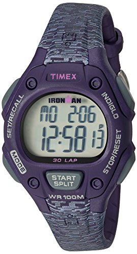 Timex Women's Ironman 30-Lap Digital Quartz Mid-Size Watch, Purple/Gray Texture – TW5M075009J