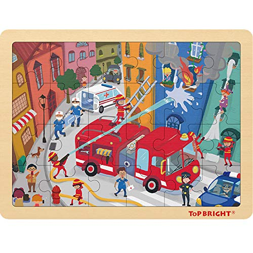 TOP BRIGHT 24 Piece Puzzles for Kids Ages 3-5 - Fire Rescue Wooden Jigsaw Puzzle with Storage Tray (8 4 5 3 24 16)