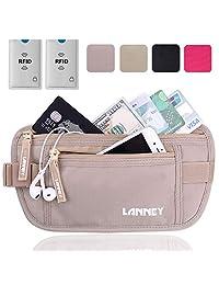 Travel Money Belt Waist Wallet RFID Blocking, Anti-Theft Passport Holder, Hidden Waist Stash for Men Women, Khaki (2 Credit Card RFID Blocking Sleeves Bonus)