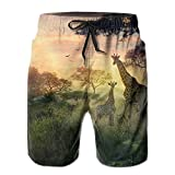 Giraffe Africa Wild Animal Newest Men's Workout&swim Trunks Quick Dry Board Shorts With Pockets Summer