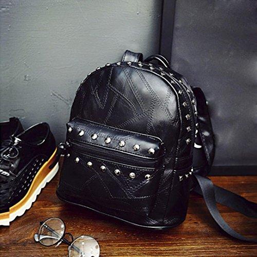 Clode® Mujeres chicas viaje cuero remache mochila bolsos deportivos mochilas Negro