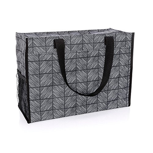 Thirty One Deluxe Organizing Utility Tote Zip Top in Chevron Squares - No Monogram - 8800