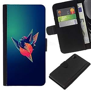 KingStore / Leather Etui en cuir / Sony Xperia Z2 D6502 / Pájaro Sun Arte Polígono oscuro Esperanza