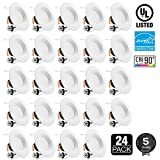 24 PACK LED 5/6Inch Dimmable Recessed Downlight, 15W (120W Equivalent), High CRI90+, Energy Star & UL-Listed, Ceiling Light, Damp Location Available, 2700K Soft White, 5 YEARS WARRANTY
