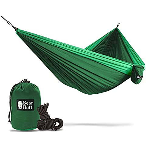 Bear Butt #1 Double Hammock - A Start Up Company With Top Quality Gear At Half The Cost Of The Other Guys (Dark Green / Light - Mens Social Web