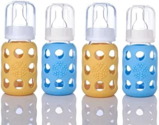 product image for Lifefactory 4oz BPA Free Glass Baby Bottles - 4-Pack- Yellow and Sky