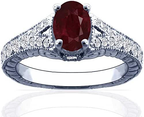 Platinum Oval Cut Ruby Ring With Sidestones
