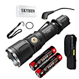 SKYBEN Klarus XT12S 1600 Lumens CREE XHP35 HI D4 LED Tactical Rechargeable Flashlight,Magnetic Charging Dual-switch Flashlight 2x18650 Battery, USB Cable,Holster,O-ring Battery Case