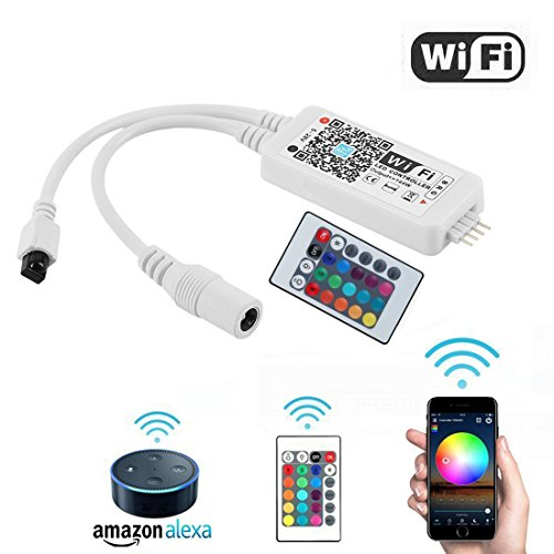 White Ir Control System (Opard WiFi RGB LED Controller Box Working with Alexa Android IOS System Phone IR Remote Control for RGB Light Strip 5050 3528)