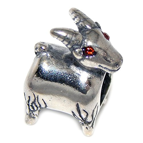 925 Solid Sterling Silver Goat with Red Crystal Eyes Charm Bead -