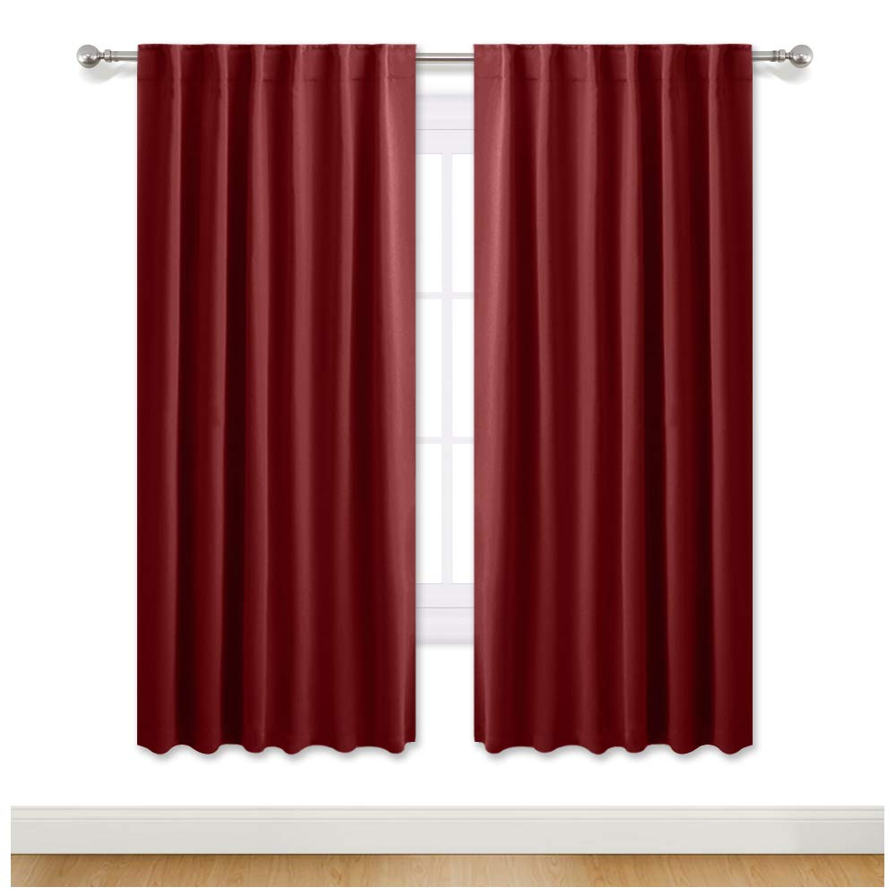 PONY DANCE 72'' Long Curtains - Blackout Thermal Insulate Drapes Blinds Home Decoration for Living Room Energy Saving & Privacy Protect, 52'' W x 72'' L, Burgundy Red, Set of 2