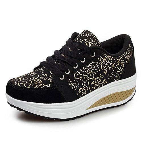 Scarpe Cunei Donne amp; Ginnastica Fitness QZBAOSHU Scarpe Scarpe Sneaker Dimagrante nero Passeggio 2 Piattaforma PqznwU