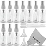 (10 Pack) Empty 20ml (0.66oz.) Clear Plastic Mist Spray bottle + 2 Pipette Droppers and 2 Funnels + MagicFiber Microfiber Cleaning Cloth