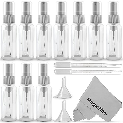 Price comparison product image (10 Pack) Empty 20ml (0.66oz.) Clear Plastic Mist Spray bottle + 2 Pipette Droppers and 2 Funnels + MagicFiber Microfiber Cleaning Cloth