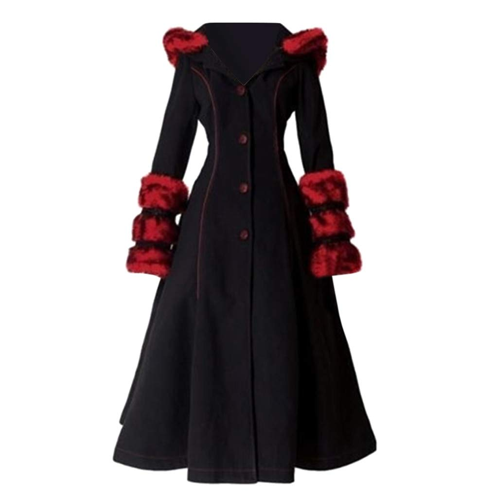 Fashionhe Women Overcoat Autumn/Winter Jacket Woolen Collar Outwear Hooded and Lace-up Long Sleeve Coat(Wine.M) by Fashionhe