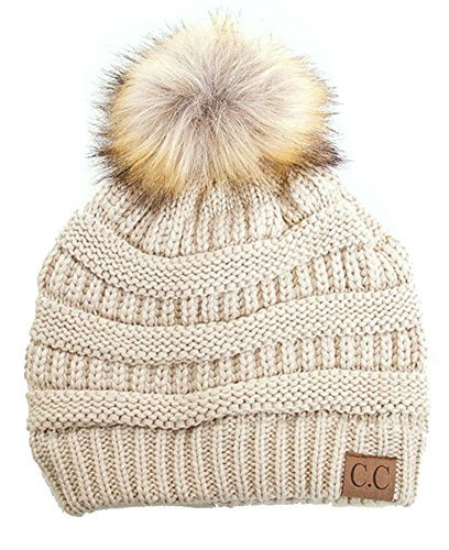 Plum Feathers Soft Stretch Cable Knit Ribbed Faux Fur Pom Pom Beanie Hat (Beige)