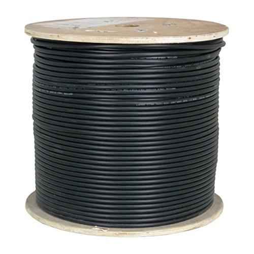 Vertical Cable CAT6A, Shielded Dual Jacket, Direct Burial, 1000ft, Black, Bulk Ethernet Cable by Vertical Cable