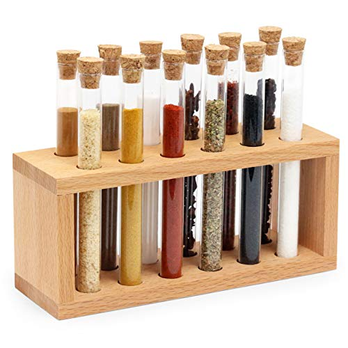 Spice Rack with Glass Spice Test Tubes Set Chemistry, Labs Glass tube with Natural Cork Stopper, Kitchen Countertop Tabletop Wooden Holder, Herb Seasoning Container Organizer (12 Tubes)