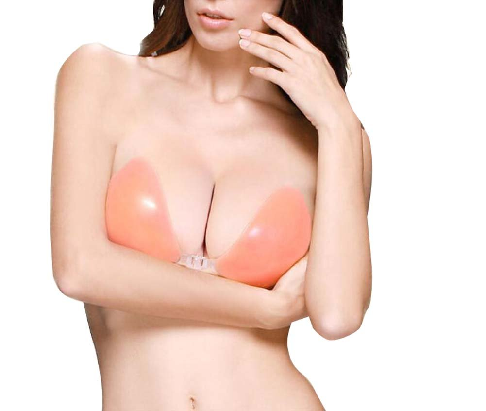 892cf101e62f5 Amazon.com   erioctry Women Silicone Adhesive Stick On Push Up Gel  Strapless Backless Invisible Reusable Bra Cleavage Natural Effect Front  Closure Size ...