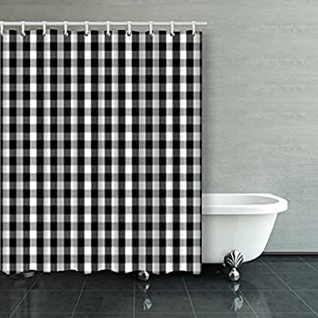 Shower Curtains Black White Buffalo Gingham Pattern Slight Check Plaid 60Wx72L Inches Home Decorative Waterproof Polyester