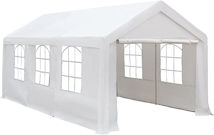Amazon Com Abba Patio Extra Large Heavy Duty Carport With Removable Sidewalls Portable Garage Car Canopy Boat Shelter Tent For Party Wedding Garden Storage Shed 8 Legs 10 X 20 Feet White Garden
