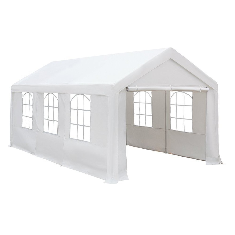 Abba Patio 10 x 20-Feet Heavy Duty Carport, Car Canopy Shelter with Windows and Sidewalls, White