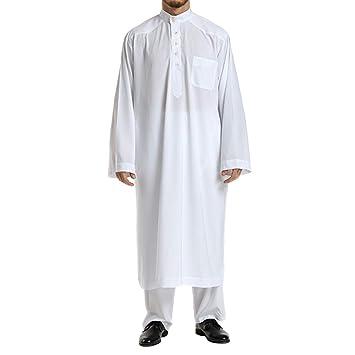 Amazon.com: Islamic Thobe Pure Color Stand Collar Long ...
