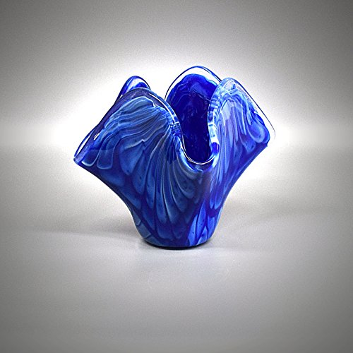 - Fused Glass Art Sculptured Vase Angel Wings in Navy Blue and White