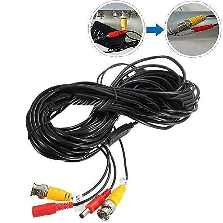 FLOUREON Cable de transmisi/ón Video de 10M//32.8ft BNC DC para el Sistema de Seguridad de la c/ámara DVR casera de vigilancia CCTV