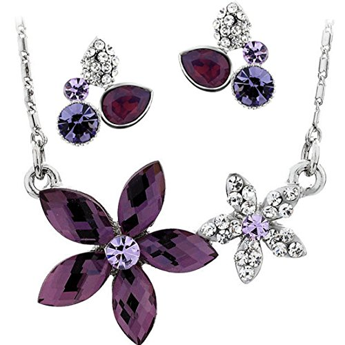 Neoglory Platinum Plated Purple Clear Crystal Jewelry Set, - Girls Crystal Jewelry Set