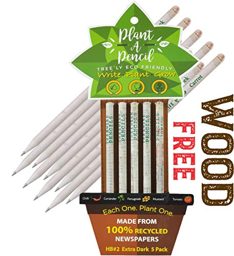 TREEWISE WOOD FREE PLANTABLE PENCIL HB#2 EXTRA DARK Made From 100% Recycled Newspapers l 100% Eco Friendly l 5 Assorted Seeds- TOMATO | FENUGREEK | CORIANDER | CHILI | MUSTRAD, GIFT @ SPECIAL PRICE
