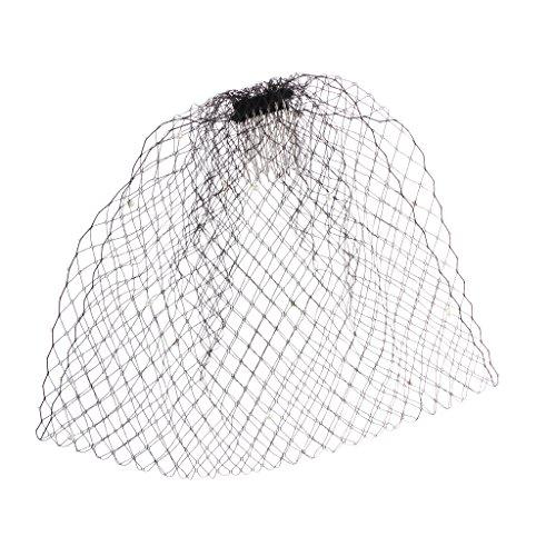 (MagiDeal Simple Elegant Wedding Bridal Pearl Face Birdcage Veil Comb Fascinator-White/Black - Black, 49)