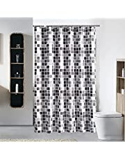 """Shower Curtains No Liner, Ylserled Waterproof Polyester Shower Curtain Fabric Set with Hooks for Bathroom Decorations, Minimalism Design 72"""" x 72"""" (Mosaic Tiles)"""