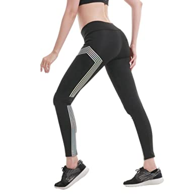 acefd1bbd55169 Longay Women Striped Slim Fit Workout Leggings Push up Compression Tights  Fitness Trousers Yoga Pants (