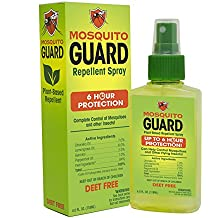 Mosquito Guard Repellent Spray, ( 4 oz ) Made with 100% All Natural Plant Based Ingredients - Citronella, Lemongrass Oil , Geraniol, NO DEET. Safe for kids and adults, Insect and Bug Repellent