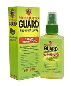 Mosquito Guard Spray repelente de mosquitos (118 ml) 100% ingredientes naturales, Aceite de limón y citronela, NO TOXICO, NO DEET