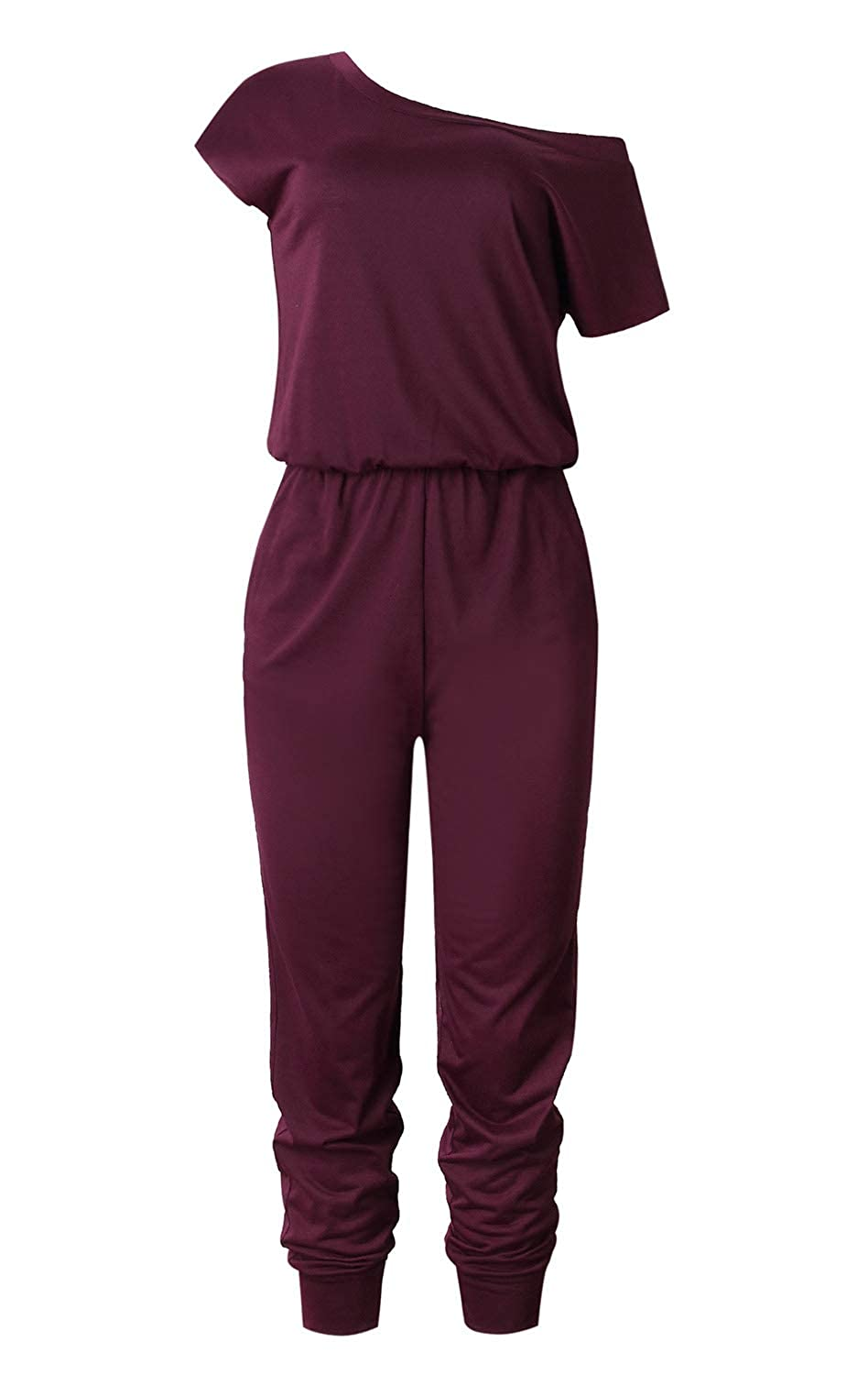 Womens Off Shoulder Short Sleeve Elastic Waist Beam Foot Jumpsuit Rompers with Pockets
