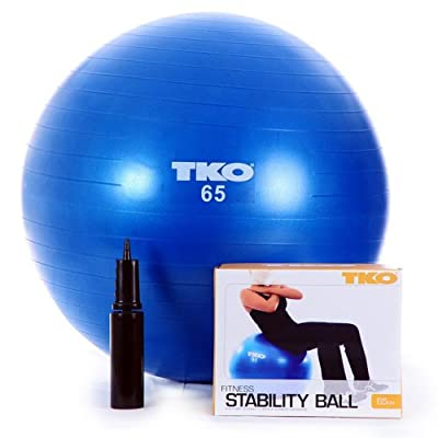 TKO Anti-Burst Fitness Ball with Pump and Instruction Chart by TKO Sports Group