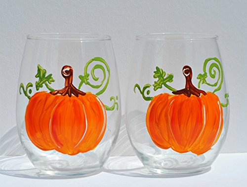 Festive Orange Pumpkin Hand Painted Stemless 20-oz Wine Glasses (Set of 2)
