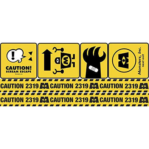 RoomMates RMK2557GM Monsters  Caution Signs Peel and Stick Giant Wall Decals