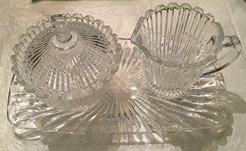Elegant Retro Crystal Glass Sugar, Cream and Tray Set