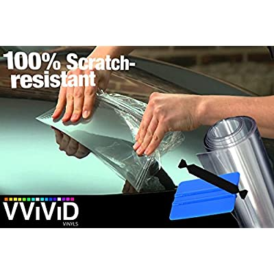 VViViD Clear Paint Protection Bulk Vinyl Wrap Film 12 Inch Including 3M Squeegee and Black Felt Applicator (12 Inch x 72 Inch): Automotive