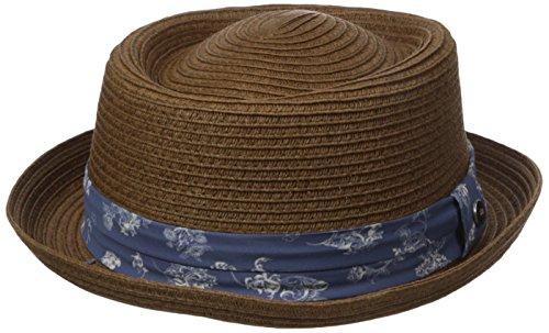 Ben Sherman Men's Braided Straw Pork Pie Hat, Tobacco, L-XL