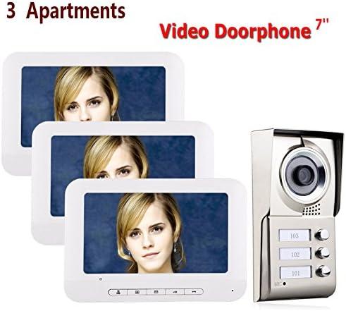防水3ボタン3モニタと7インチ液晶3つのアパートビデオドア電話インターホンシステムIR-CUT HD 1000TVLカメラドアベルカメラ