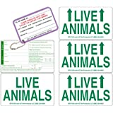 Live Animal Label Set of 5 Stickers