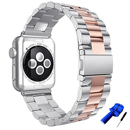 (HUANLONG Solid Stainless Steel Metal Replacement 3 Pointers Watchband Bracelet with Double Button Folding Clasp Compatible with Apple Watch Iwatch Series 1/2/3/4(Silver/Rosegold 38mm))