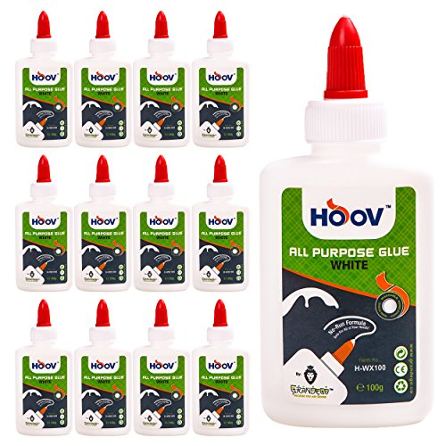 (HOOV All-Purpose Liquid White Glue | Bulk Pack of 12 - Extra Strong Multi-Surface Hold, Dries Clear - Safe, Non-Toxic, Washable, No Run Formula - Adjustable Flow Twist Top + 3.5 oz Bottle)